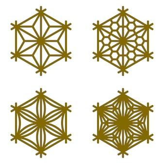 Un insieme di quattro elementi a forma di fiocco di neve in un esagono