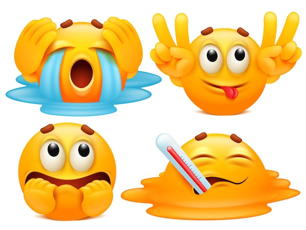 Set di quattro personaggi dei cartoni animati emoji in varie emozioni.