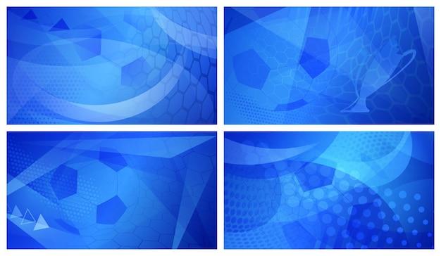 Set di quattro sfondi astratti da calcio o da calcio con una grande palla nei colori blu