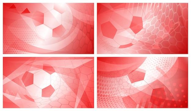 Set di quattro sfondi astratti da calcio o da calcio con una grande palla in colori rossi