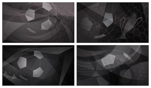 Set di quattro sfondi astratti scuri da calcio o da calcio con una grande palla nei colori nero e grigio