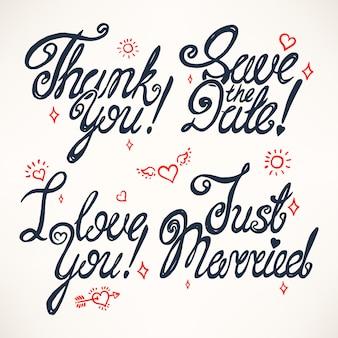 Set di quattro auguri per san valentino o per matrimonio. testo disegnato a mano