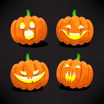 Set di quattro zucche spaventose e divertenti di halloween
