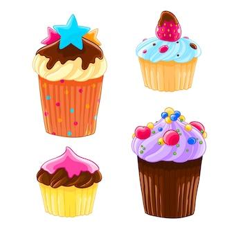 Set di quattro icone in stile cartone animato, deliziosi muffin con crema, cioccolato e fragola.