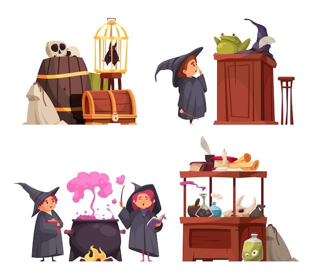 Un insieme di quattro composizioni isolate della scuola magica con i caratteri di scarabocchio degli studenti in cappelli e merci vector l'illustrazione