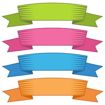 Set di quattro nastri e striscioni multicolori per il web design. ottimo elemento di design isolato su sfondo bianco. illustrazione vettoriale.