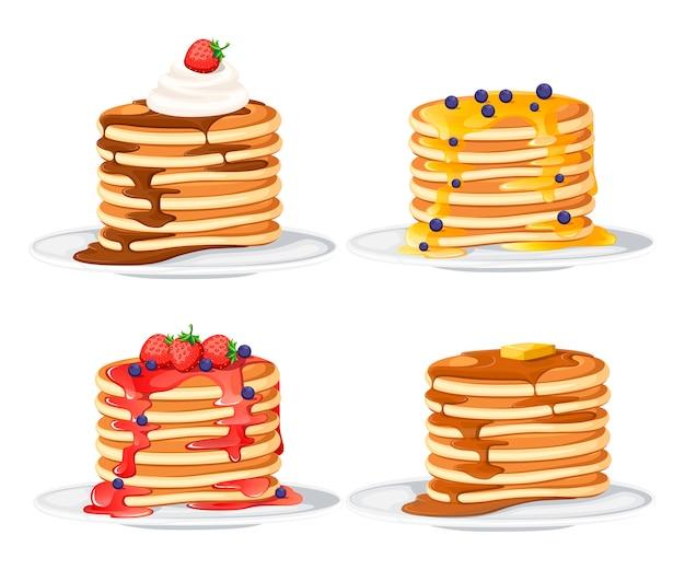 Set di quattro frittelle con diversi condimenti. frittelle sulla zolla bianca. cuocere con sciroppo o miele. concetto di colazione. illustrazione piatta isolati su sfondo bianco.