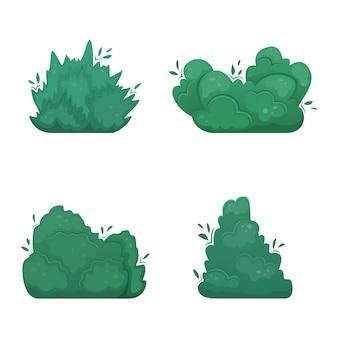 Set di quattro arbusti in stile cartone animato. un set per crearne uno tuo.
