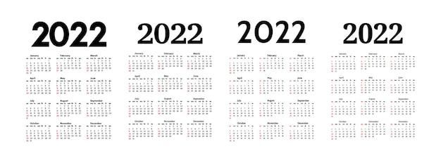 Set di quattro calendari verticali per il 2022 isolati su sfondo bianco. da domenica a lunedì, modello di business. illustrazione vettoriale