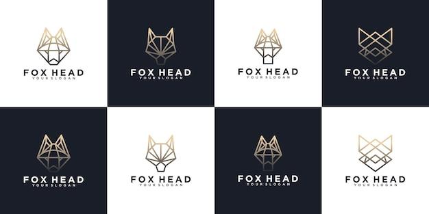 Set di logo della testa di volpe, logo di riferimento per il business
