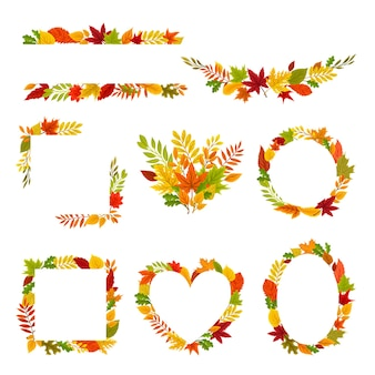 Set di cornici e composizioni di foglie d'autunno