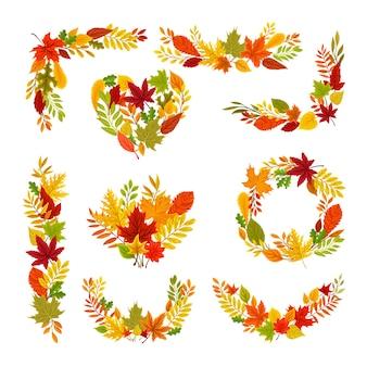 Set di cornici da foglie d'autunno