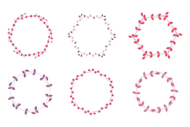 Set di cornici, allori e ghirlande. elementi per matrimoni, vacanze e biglietti di auguri. modelli d'epoca. illustrazione vettoriale.