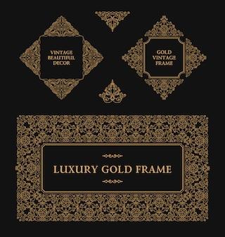 Set di linee di cornici progettare elementi di contorno oro ed emblemi