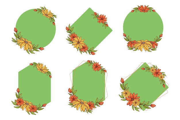 Set di cornici con fiori colorati, stile di schizzo di cornice floreale.
