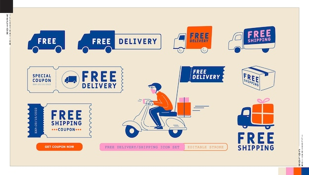 Set di icone di spedizione gratuita consegna gratuita grafica in stile cartone animato