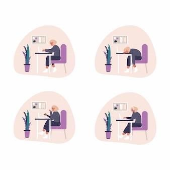Insieme delle illustrazioni indipendenti di concetto del lavoro a casa - la donna con la cuffia avricolare sta lavorando con il computer portatile a casa. illustrazione piana dell'ufficio di processo di lavoro a casa.