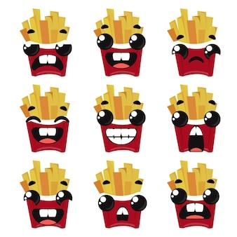 Set di patatine fritte con diverse emozioni. illustrazione di vettore nello stile infantile del fumetto.