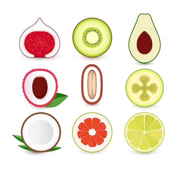 Set di icone di frutta fresca. fetta di frutti tropicali, collezione logo. emblemi isolati.