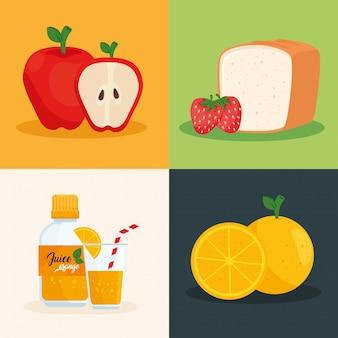 Set di disegno di illustrazione vettoriale di frutta fresca e sana