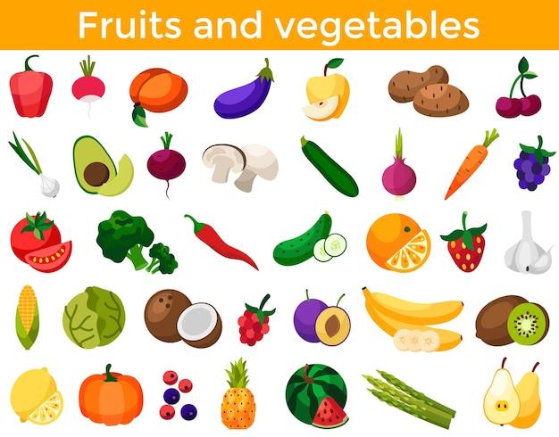 Set di frutta fresca e sana verdura e bacche isolate