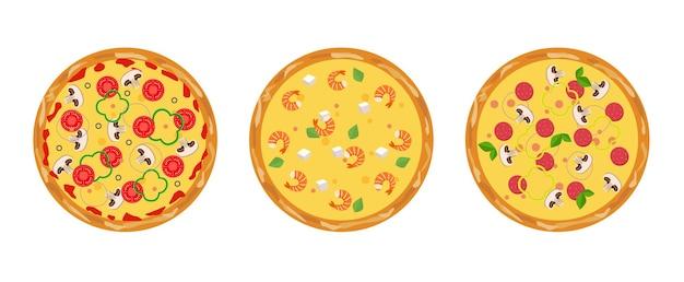 Set di pizza fresca fatta in casa. disegno vettoriale isolato. sfondo di pizza. disegno della bandiera.