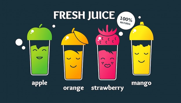 Impostare succhi di frutta freschi in bicchieri.