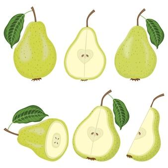 Set di frutta fresca di pera succosa con foglie e fette