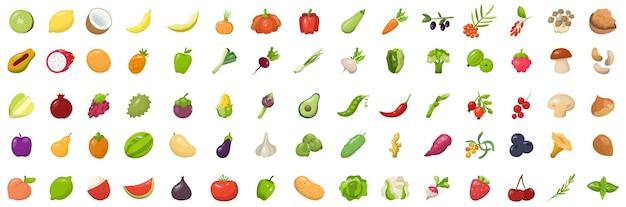 Set di frutta fresca e gustosa, bacche, verdure, funghi e noci.