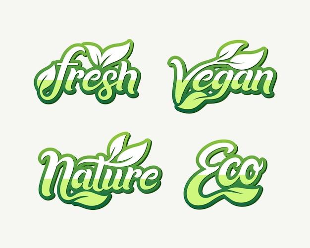 Set di modello fresh vegan nature eco logo