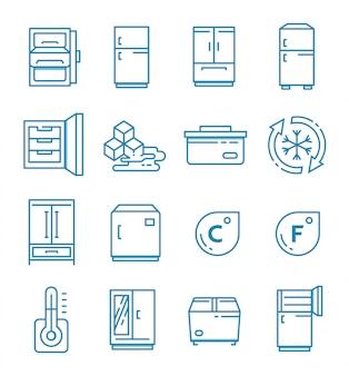 Set di icone del frigorifero con struttura di stile