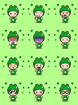 Imposta il personaggio della mascotte della rana con espressioni carine. illustrazione di design