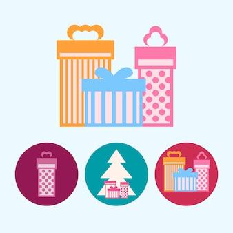 Set da 3 icone colorate rotonde, albero di natale con scatole regalo, illustrazione vettoriale