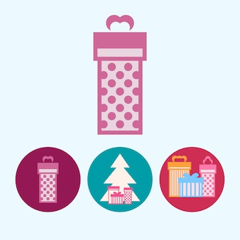 Set da 3 icone rotonde colorate, scatola regalo rosa, albero di natale con scatole regalo, illustrazione vettoriale