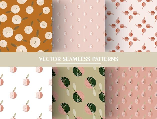 Insieme del reticolo senza giunte di frutta con la mela. collezioni di modelli di mele in stile minimalista. illustrazione di riserva. disegno vettoriale per tessuti, tessuti, carta da regalo, sfondi.