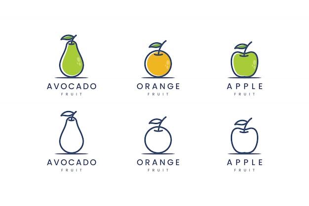 Impostare la frutta con l'ispirazione del design del logo cpncept della linea