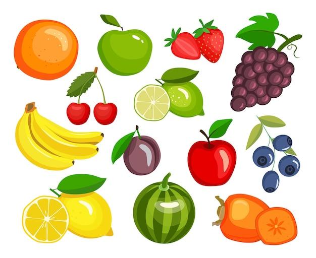 Set di frutta in stile cartone animato illustrazione