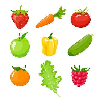 Set di frutta, verdura e bacche. mela verde, una carota, arancia, pepe. illustrazione