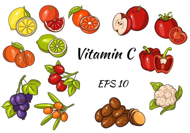 Set di frutta e verdura e bacche.