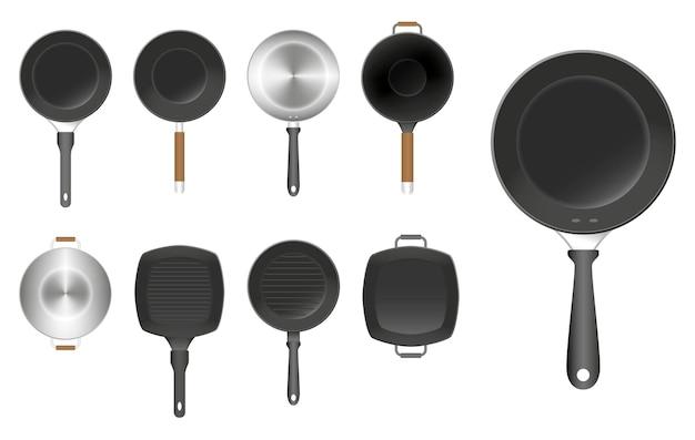 Set di padella utensile da cucina isolato