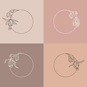 Set di cornici di fiori fucsia e concetto di monogramma in stile lineare minimale. logo floreale di vettore con lo spazio della copia per lettera o testo. timbro per cosmetici, moda, bellezza, spa, matrimonio