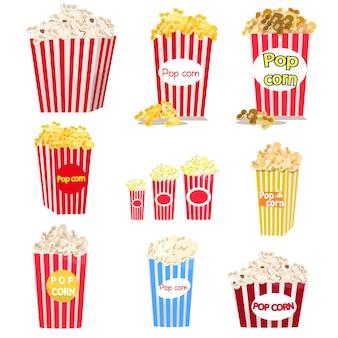 Set di secchi per popcorn a strisce rosse e bianche di diverse dimensioni.