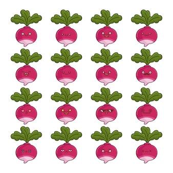 Set di divertenti cartoni animati kawaii di verdure rapa