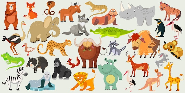 Set di divertenti animali, uccelli e rettili provenienti da tutto il mondo. fauna mondiale. illustrazione