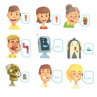 Insieme di operatori di call center divertenti con auricolare, illustrazioni colorate di servizio di assistenza clienti