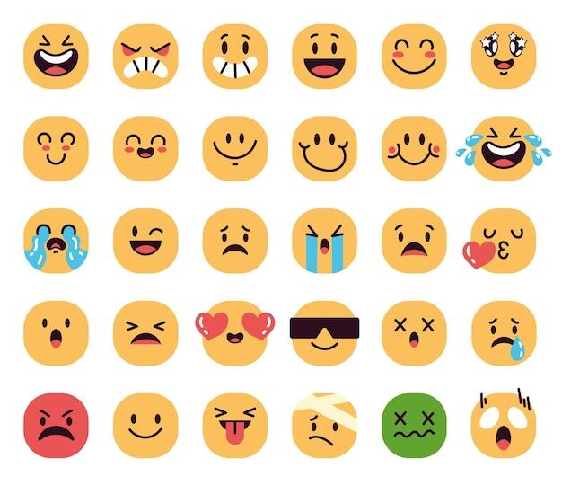 Set di facce divertenti dei cartoni animati con diverse emozioni isolate su sfondo bianco