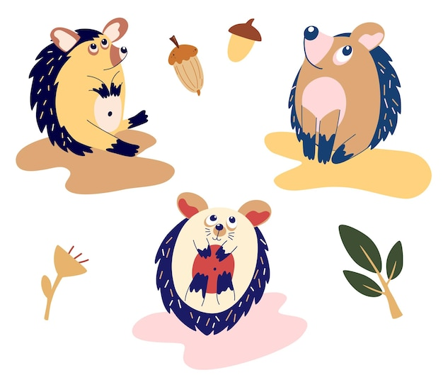 Set di ricci divertenti cartoni animati. ricci carini in diverse pose. animali del bosco per il design dei bambini. cartoon piatto illustrazione vettoriale isolato su sfondo bianco.