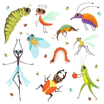 Insieme degli insetti divertenti del fumetto isolare su bianco.