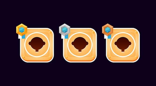 Set di bordo cornice casual divertente con grado per elementi asset dell'interfaccia utente del gioco