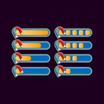 Set di barra di avanzamento magnete casual divertente per elementi di asset dell'interfaccia utente del gioco